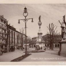 Postales: POSTAL FOTOGRAFICA DE PAMPLONA -MONUMENTO A LOS FUEROS AÑOS 20 - VER IMÁGENES. Lote 211274481