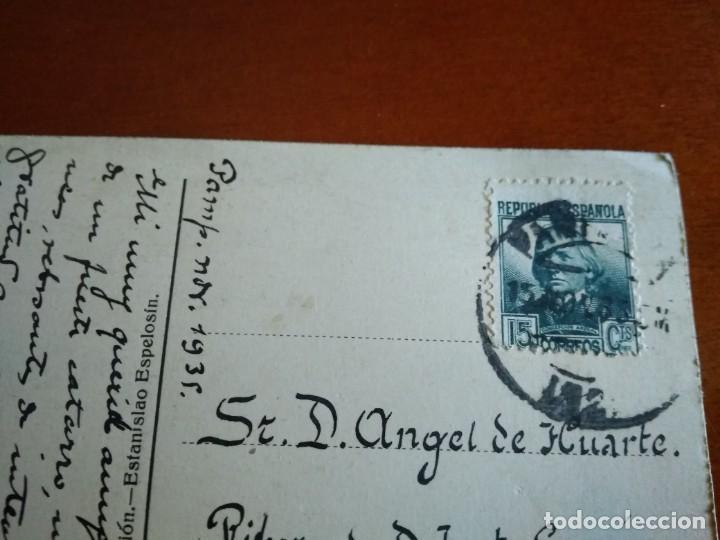 Postales: POSTAL CIRCULADA CON SELLO DE LA II REPÚBLICA 1935 PAMPLONA - Foto 3 - 216822088