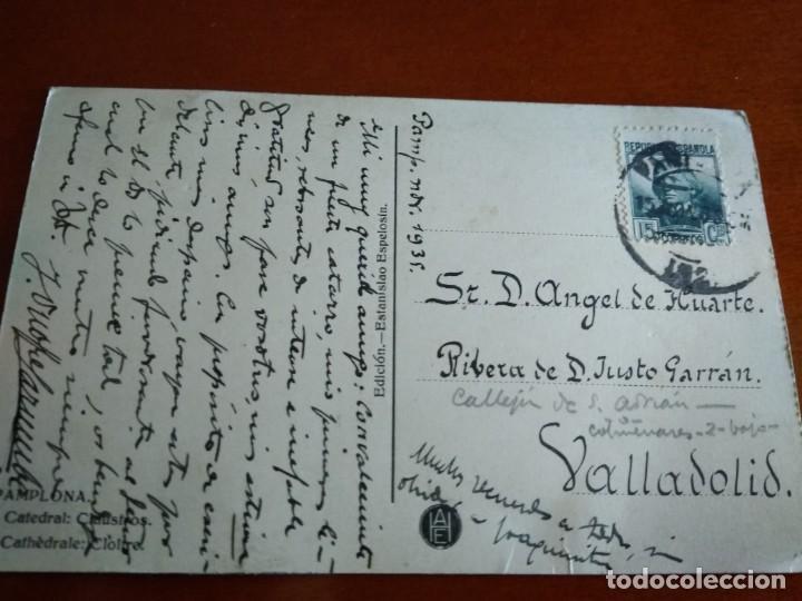 Postales: POSTAL CIRCULADA CON SELLO DE LA II REPÚBLICA 1935 PAMPLONA - Foto 4 - 216822088