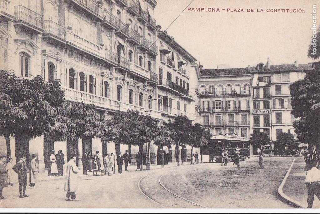 PAMPLONA PLAZA DE LA CONSTITUCION. ED. FAUSTINO URDANIZ. SIN CIRCULAR (Postales - España - Navarra Antigua (hasta 1.939))