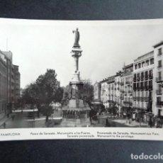 Postales: POSTAL PAMPLONA. PASEO DE SERASATE. MONUMENTO A LOS FUEROS. MANIPEL RTRO.. Lote 218277248