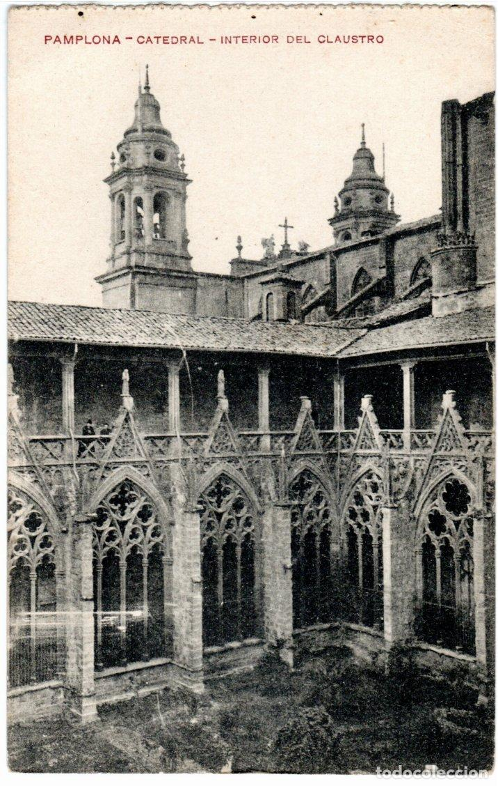 BONITA POSTAL - PAMPLONA - LA CATEDRAL - INTERIOR DEL CLAUSTRO - EDICION FAUSTINO URDÁNIZ (Postales - España - Navarra Antigua (hasta 1.939))
