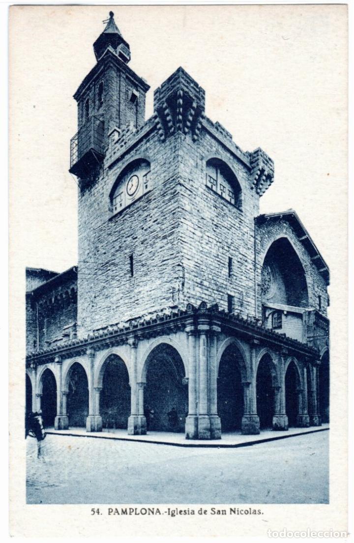 BONITA POSTAL - PAMPLONA - IGLESIA DE SAN NICOLAS (Postales - España - Navarra Antigua (hasta 1.939))