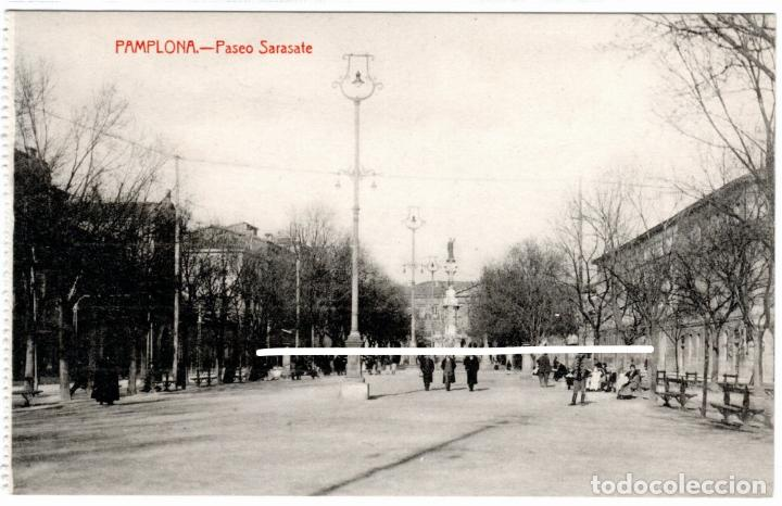 PRECIOSA POSTAL - PAMPLONA - PASEO SARASATE - EDICION COSGAYA (Postales - España - Navarra Antigua (hasta 1.939))