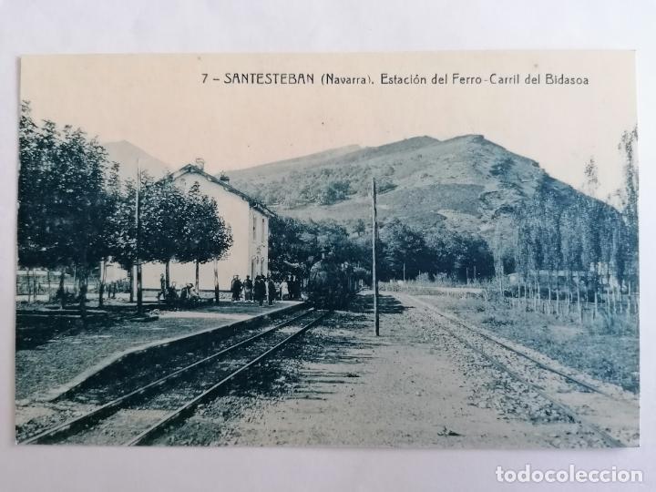 POSTAL SANTESTEBAN, ESTACION DEL FERRO-CARRIL DEL BIDASOA (Postales - España - Navarra Antigua (hasta 1.939))