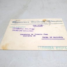 Postales: TARJETA PUBLICITARIA ANTIGUA PAMPLONA. ALMACENES AZCÁRATE. CENSURA MILITAR.. Lote 222701848
