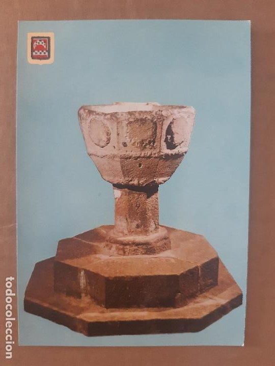 TARJETA POSTAL CASTILLO JAVIER NAVARRA Nº 10 PILA BAUTISMA EDICIONES FISA ESCUDO DE ORO SIN CIRCULAR (Postales - España - Navarra Moderna (desde 1.940))
