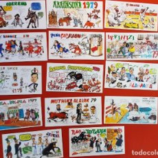 Cartoline: LOTE 05122020.- 04 16 TARJETAS PANCARTAS PEÑAS SAN FERMIN 1979 PUBLICIDAD KICKERS. Lote 232708495