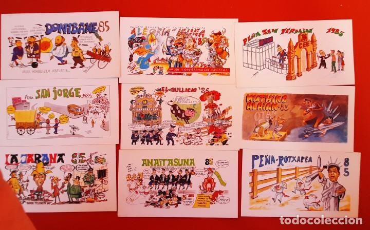 LOTE 05122020.- 04 16 TARJETAS PANCARTAS PEÑAS SAN FERMIN 1985 REVERSO PUBLICIDAD EUSKAL TELEBISTA (Postales - España - Navarra Moderna (desde 1.940))