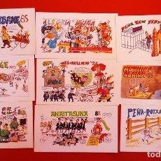 Cartoline: LOTE 05122020.- 04 16 TARJETAS PANCARTAS PEÑAS SAN FERMIN 1985 REVERSO PUBLICIDAD EUSKAL TELEBISTA. Lote 232707300