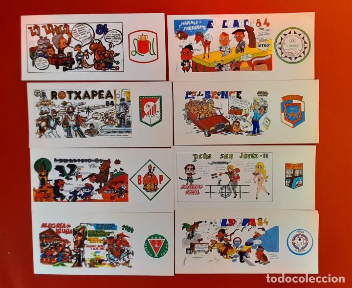 LOTE 05122020.- 04 16 TARJETAS PANCARTAS PEÑAS SAN FERMIN 1984 REVERSO PROGRAMA FIESTAS (Postales - España - Navarra Moderna (desde 1.940))