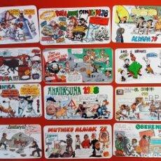Postales: LOTE 05122020.- 03 18 TARJETAS PANCARTAS PEÑAS SAN FERMIN 1978 PUBLICIDAD DIVERSA.2 REPETIDAS. Lote 232708600