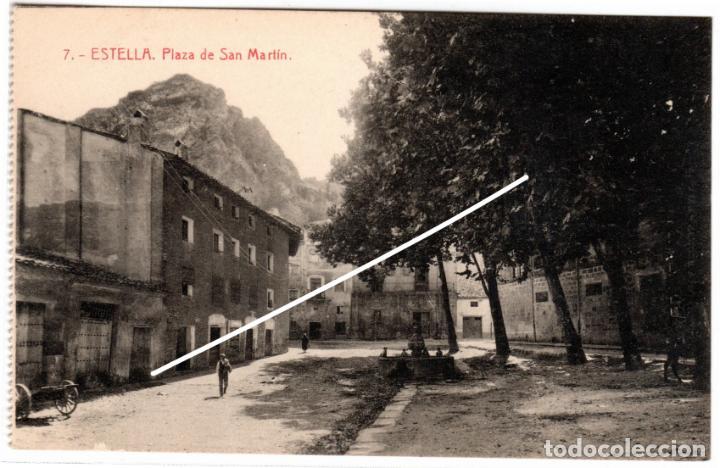 BONITA POSTAL - ESTELLA (NAVARRA) - PLAZA DE SAN MARTIN - EDICION GARBAYO (Postales - España - Navarra Antigua (hasta 1.939))