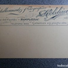 Postales: PAMPLONA ESTABLECIMIENTOS FOTOGRÁFICOS ROLDÁN POSTAL PUBLICITARIA REVERSO ANTERIOR 1905. Lote 243677020