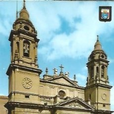 Postales: POSTAL A COLOR IMAGENES ESCUDO DE ORO PRIMERA COLECCION DE CATEDRALES Nº 10 PAMPLONA FACHADA CATEDRA. Lote 262476905