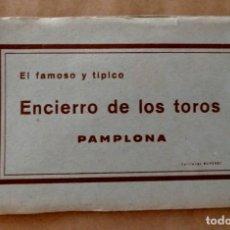 Postales: PAMPLONA EL FAMOSO Y TÍPICO ENCIERRO DE LOS TOROS BLOQUE COMPLETO 10 ANTIGUAS POSTALES RUPÉREZ 20S. Lote 263653585