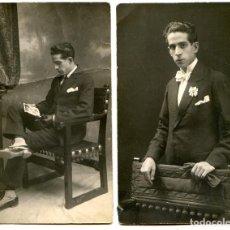 Postales: DOS FOTOPOSTALES DE UN ACTOR AMATEUR ?. FOTÓGRAFO MARCELINO GARCÍA, CORELLA, NAVARRA, 1920. Lote 269773533