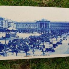 Postales: PAMPLONA PLAZA DE LA CONSTITUCION COCHES ANIMADA. Lote 276642578