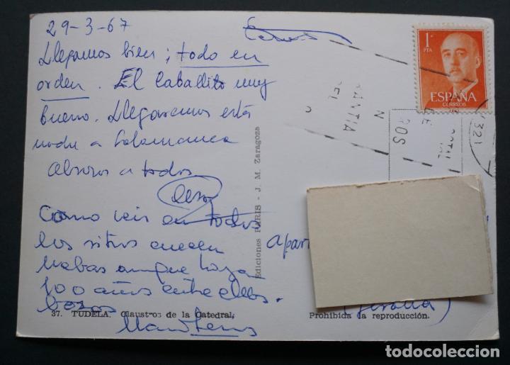 Postales: Tudela, Claustro de La Catedral, postal circulada con sello del año 1967 - Foto 2 - 278761788
