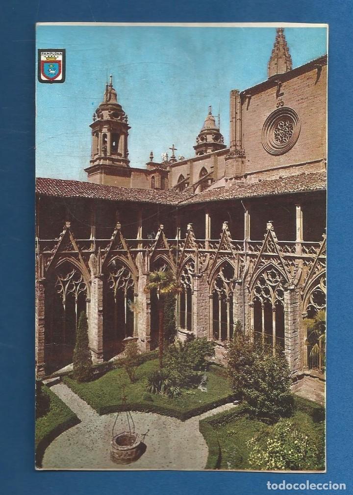 POSTAL SIN CIRCULAR PAMPLONA 47 CLAUSTROS CATEDRAL EDITA ESCUDO DE ORO (Postales - España - Navarra Moderna (desde 1.940))