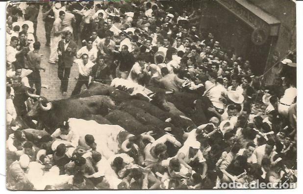 POSTAL Nº 39 PAMPLONA ENCIERRO DE LOS TOROS ZARAGOZA 1950 (Postales - España - Navarra Antigua (hasta 1.939))