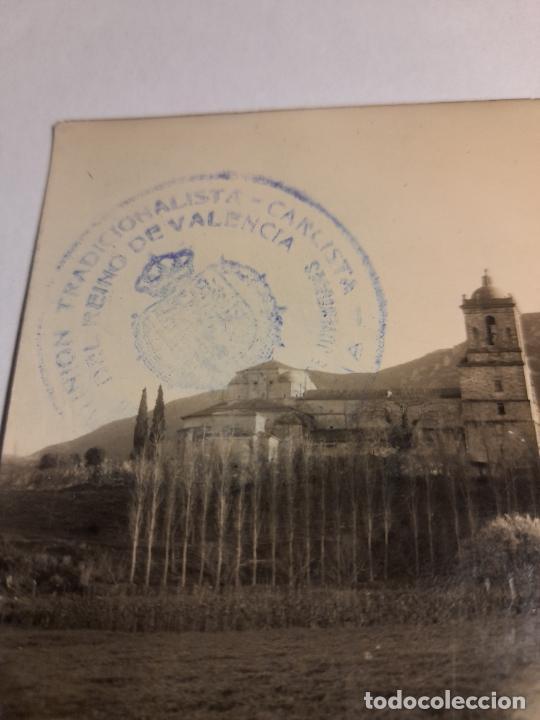 POSTAL MONASTERIO DE IRACHE AL FONDO MONTEJURRA - CUÑO COMUNION TRADICIONALISTA CARLISTA DE VALENCIA (Postales - España - Navarra Moderna (desde 1.940))