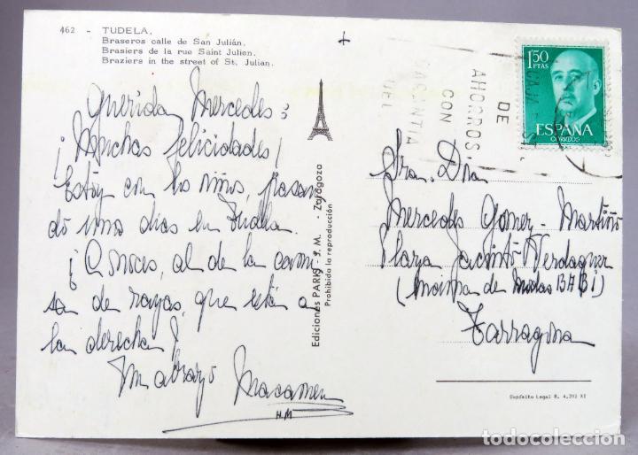 Postales: Postal Tudela Braseros calle San Julián Ediciones París años 60 circulada sello - Foto 2 - 288667953