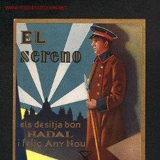 Postales: FELICITACION NAVIDEÑA DE OFICIOS: EL SERENO (TEXTO DEL DORSO EN CATALAN). Lote 16652624