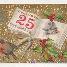 Postales: A MERRY CHRISTMAS. DECEMBER 25 CHRISTMAS DAY. CON RELIEVE. . Lote 11972244