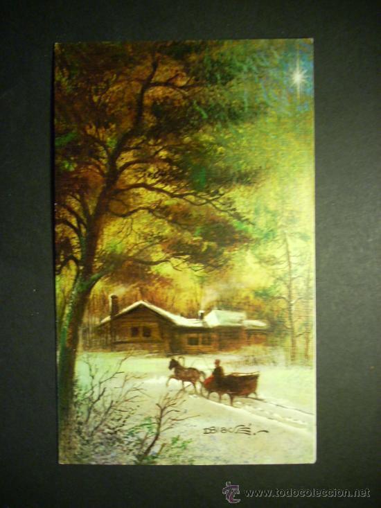 2044 paisaje nevado con trineo postal de navida comprar - Paisaje nevado navidad ...