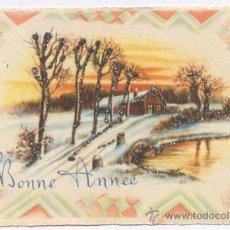 Postales: TARJETA FELICITACION NAVIDAD CON PURPURINA. Lote 17753410