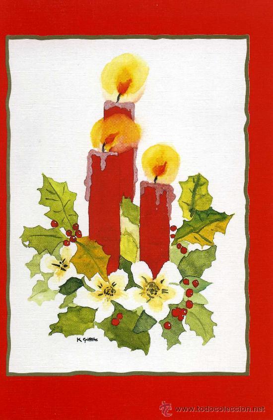 tarjeta navidea artis mutis n e velas de un original pintado con la boca
