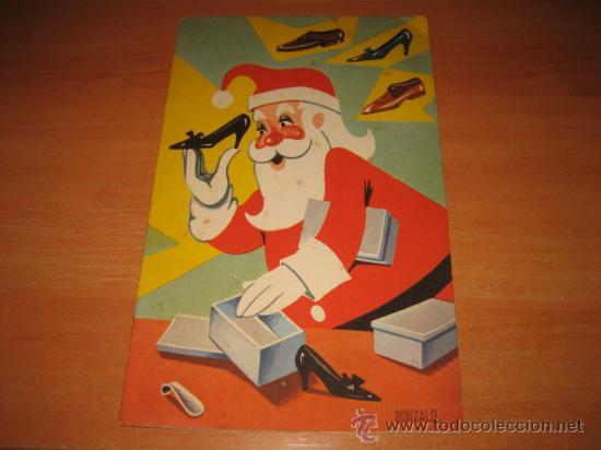TARJETA DE FELICITACION NAVIDEÑA 1964 PAPA NOEL EMPAQUETANDO ZAPATOS (Postales - Postales Temáticas - Navidad)