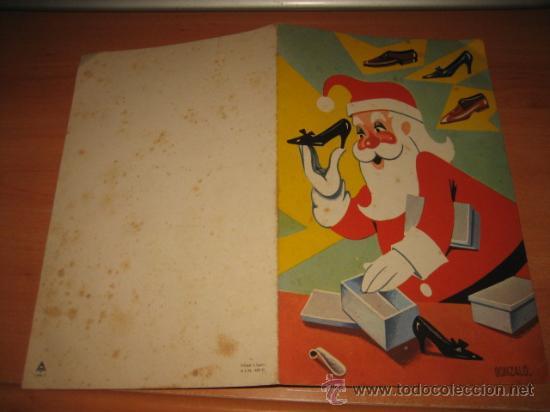 Postales: TARJETA DE FELICITACION NAVIDEÑA 1964 PAPA NOEL EMPAQUETANDO ZAPATOS - Foto 2 - 24480838
