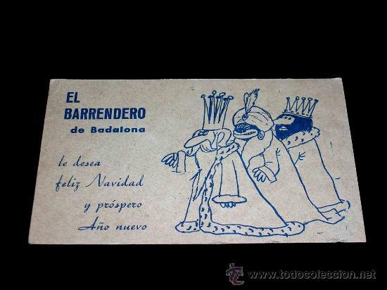 EL BARRENDERO DE BADALONA, TARJETA DE FELICITACIÓN NAVIDAD Y PROSPERO AÑO NUEVO. AÑOS 30-40. (Postales - Postales Temáticas - Navidad)