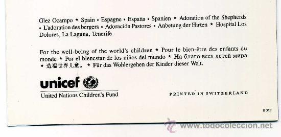 Postales: TARJETA O POSTAL NAVIDEÑA UNICEF. ADORACIÓN PASTORES. - Foto 2 - 29307631