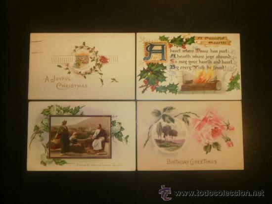CUATRO POSTALES PRECIOSAS CIRCULADAS DE PRINCIPIOS SIGLO (1907-1911-1914-1915) (Postales - Postales Temáticas - Navidad)