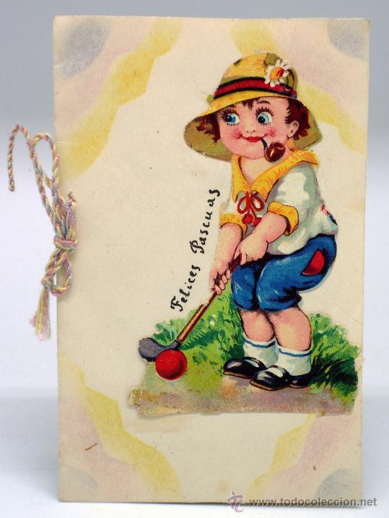 tarjeta felicitacin navidad casera con cromo troquelado golf ingls felices pascuas escrita 1940 - Postales De Navidad Caseras