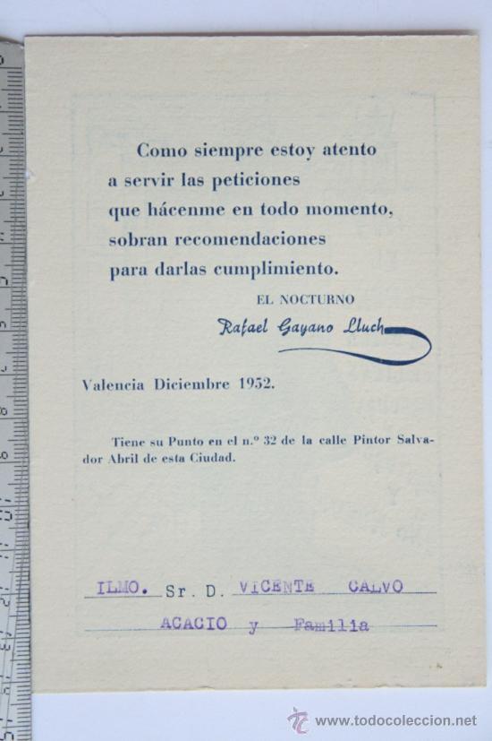 Postales: TARJETA FELICITACION NAVIDEÑA ESCRITOR POETA RAFAEL GAYANO LLUCH DE NAVIDAD EL SERENO 1952 VALENCIA - Foto 2 - 32200610