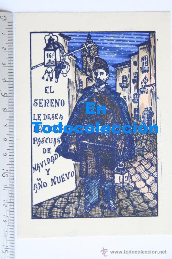 TARJETA FELICITACION NAVIDEÑA ESCRITOR POETA RAFAEL GAYANO LLUCH DE NAVIDAD EL SERENO 1952 VALENCIA (Postales - Postales Temáticas - Navidad)