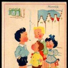 Postales: POSTAL GRUPO DE NIÑOS Y UNO FUMANDO. CIRCULADA EN 1946. CON SELLO.. Lote 34130229