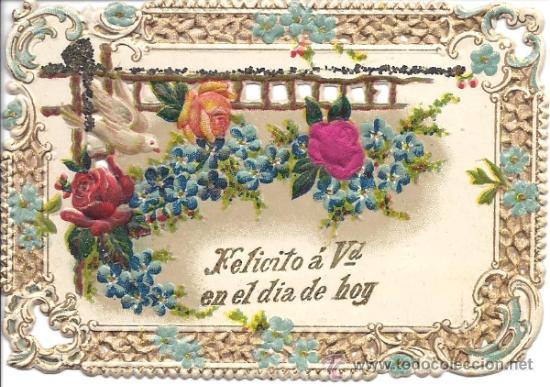 PS3097 FELICITACIÓN DE NAVIDAD TROQUELADA Y CON FLOR EN SEDA. LOS PORTEROS. BARCELONA. PRINC. S.XX (Postales - Postales Temáticas - Navidad)