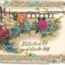 Postales: PS3097 FELICITACIÓN DE NAVIDAD TROQUELADA Y CON FLOR EN SEDA. LOS PORTEROS. BARCELONA. PRINC. S.XX. Lote 34180436