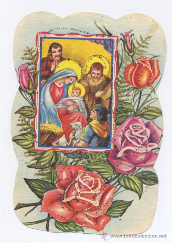 FELICITACION NAVIDAD TROQUELADA Y ADORNADA CON PURPURINA (Postales - Postales Temáticas - Navidad)