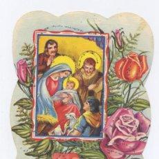 Postales: FELICITACION NAVIDAD TROQUELADA Y ADORNADA CON PURPURINA. Lote 34681687