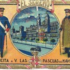 Postales: PS1687 FELICIÓN NAVIDAD GREMIOS: EL SERENO. ILUSTRACIÓN HUGUET. TEXTO EN EL DORSO. AÑOS 30. Lote 34715894