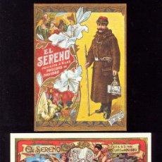 Postales: EL SERENO DOS FELICITACIONES NAVIDAD. FACSÍMILES 1873 Y 1901. BARCELONA 1973 Y 1969.TEXTO AL DORSO. . Lote 34846404