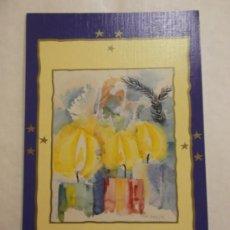 Cartoline: BONITA POSTAL DE NAVIDAD. DIPTICO. PINTADO CON BOCA. . Lote 35637268