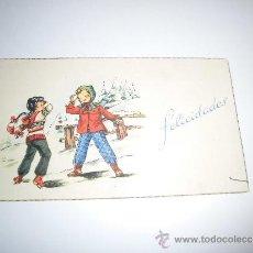 Postales: FELICITACION NAVIDEÑA NIÑOS EN LA NIEVE. Lote 35903386