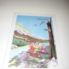 Postales: TARJETA NAVIDEÑA NIÑOS ANGELES. Lote 36593379